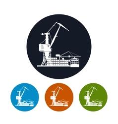Cargo container ship with cargo crane vector image vector image