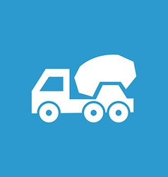 Concrete mixer icon white on the blue background vector