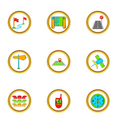 map icons set cartoon style vector image