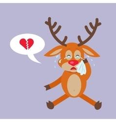 Deer crying for broken heart reindeer disappointed vector