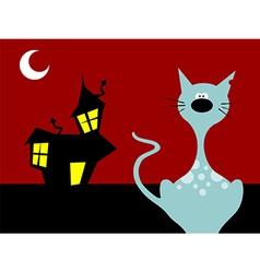 Halloween night cat vector image vector image