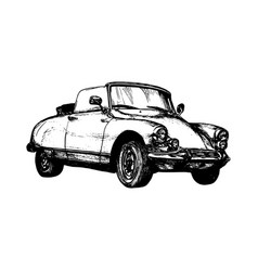 retro sport car hand sketched vector image