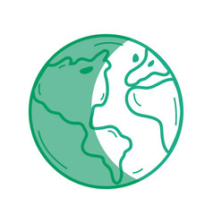 Silhouette earth planet to natural ecology care vector
