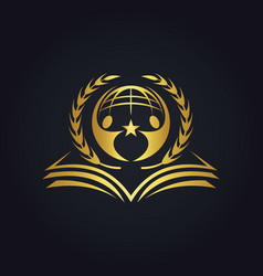 world book education people gold logo vector image