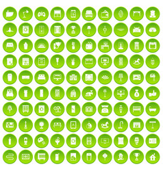 100 interior icons set green circle vector image