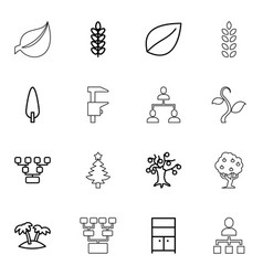 16 tree icons vector image