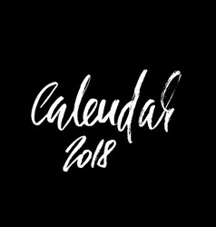 2018 calendar beautiful greeting card calligraphy vector