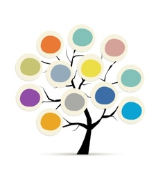 Abstract tree with circle frames for your design vector image