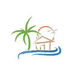 Abstract tropical beach vector