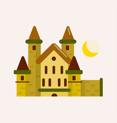 Ancient brick castle with cone roofs and yellow vector