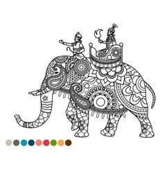 Antistress coloring page with maharaja on elephant vector