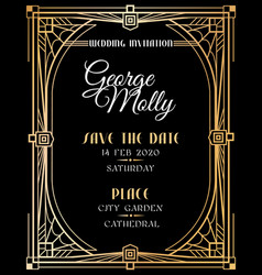 art deco invitation wedding art deco card with vector image
