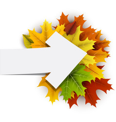 Autumn card with colorful leaves vector
