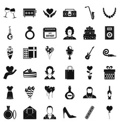 Birthday celebration icons set simple style vector