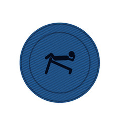 Blue circular frame of abdominal training on vector