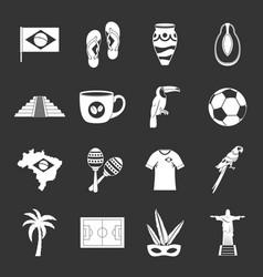 brazil travel symbols icons set grey vector image
