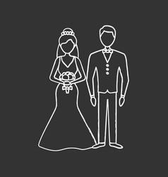bride and bridegroom chalk icon vector image