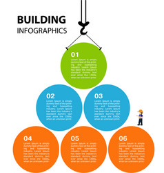 bright infographics on theme building a vector image