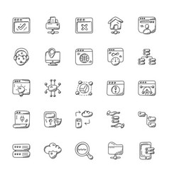 bundle of web hosting doodle icons vector image