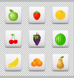buttons with fruits isolated on transparent vector image