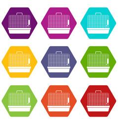 cage for birds icon set color hexahedron vector image