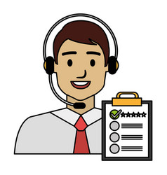 Call center agent with headset and checklist vector