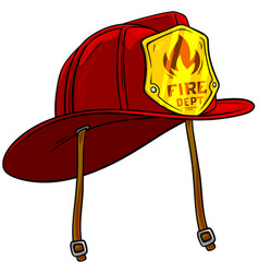 cartoon red firefighter helmet with golden badge vector image