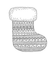 Christmas stocking for gifts black and white vector
