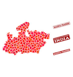 Composition of red mosaic map of madhya pradesh vector