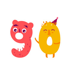 Cute animallike character number ninety 90 vector