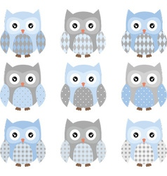 Cute Blue and Grey Cute Owl set vector image