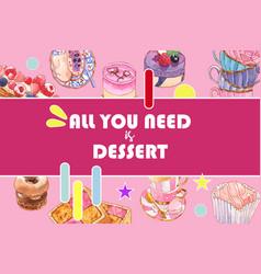 Dessert frame design with cupcake berry cake vector