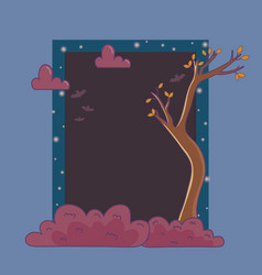 dry trees bats clouds night frame trick or treat vector image