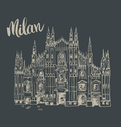 Duomo cathedral in milan italy hand drawn sketch vector
