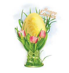 Easter egg and egg cup of grass and tulips vector