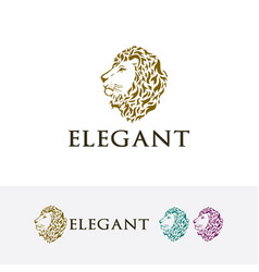 Elegant lion logo design vector