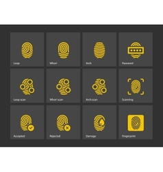 Fingerprint and thumbprint icons vector image