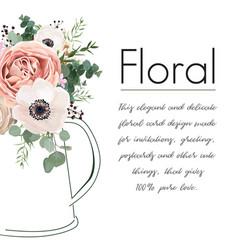 Floral elegant card design peach rose flowers vector