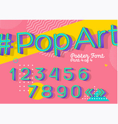 Font in pop art style colorful funny retro type vector