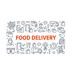 food delivery horizontal poster with line icons vector image