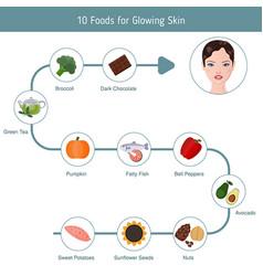 Foods infographics glowing skin foods vector