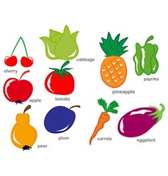 Fruit and Vegetable set vector image vector image