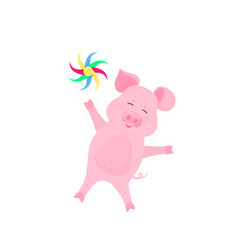 funny pig with pinwheel at a party greeting card vector image