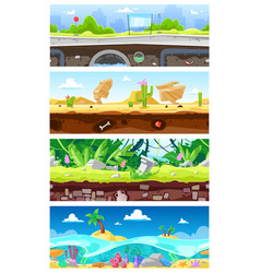 Game background cartoon landscape interface vector
