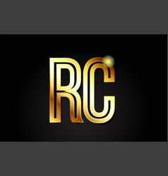 Gold alphabet letter rc r c logo combination icon vector