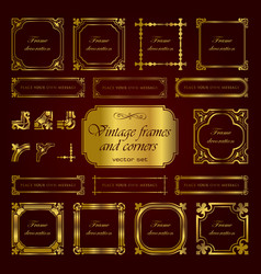 golden vintage calligraphic frames and corners vector image