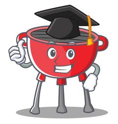 Graduation barbecue grill cartoon character vector