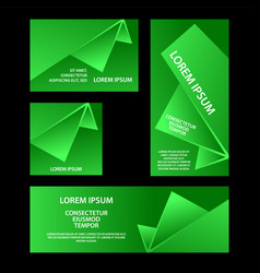 green abstract geometric banners set vector image