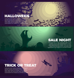 halloween banners - bats cemetery and zombie hand vector image