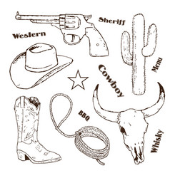 Hand drawn cowboy retro vintage elements vector